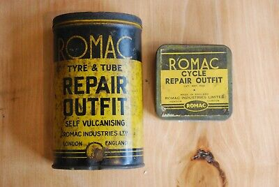 2 x vintage Remac Motorcycle,car,bike tyre repair kit tins with contents