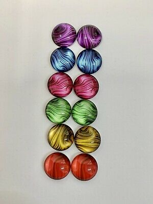 6 Pairs Of 12mm Glass Cabochons #964