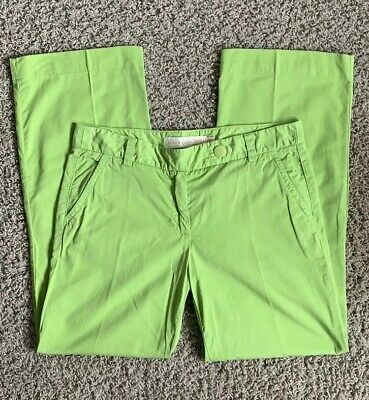 Womens J.Crew Broken-in Chinos Pants Size 8R City Fit Green Chartreuse