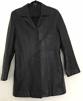Ladies St Michael Marks & Spencer Black Soft Leather Coat / Jacket Size 12