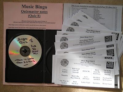 70's Disco Music Bingo Game 8. Pub/Club/Charity/Holiday Park NO Printing Needed