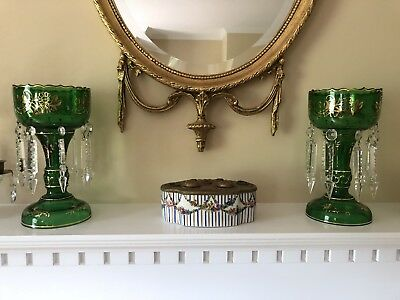 Vintage Pair Emerald Green Glass Crystal Lusters Lustres Spear Head Prisms
