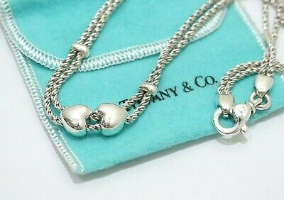Tiffany & Co. Sterling Silver Double Heart Rope Love Knot Necklace 16""