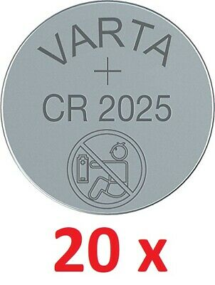 20 x Originale Varta CR2025 3V Litio Batteria Bottone Cr 2025 20 Pezzo Top