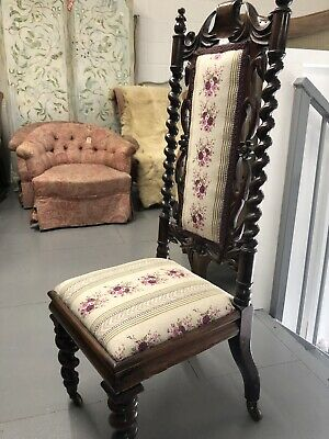 Antique Rosewood Chair Barley Twist Detail Newly Upholstered