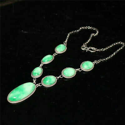 "8.55"" Collection Chinese silver inlay jadeite jade Hand-made Pendant Necklace"