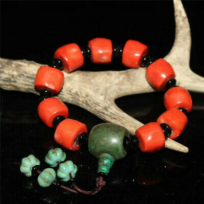 """7.09"""" Collection Chinese Exquisite Red Coral Turquoise beads Bracelet"""