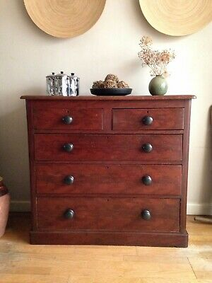 Antique Pine Chest Of Drawers Original Faux Mahogany Paint Vintage 2 Over 3