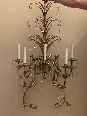 "PAIR Vintage Italian Crystal Wall Sconces 39"" 5 light Wall Chandelier Tole"