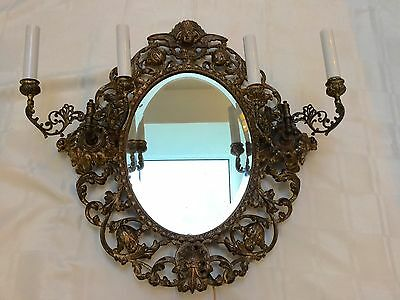 Antique Vintage French Brass Bronze Cherub Mirror Wall Sconce Girandole Large