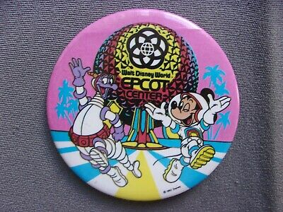Disney Button Walt Disney World Epcot Center Figment Mickey Mouse 1982