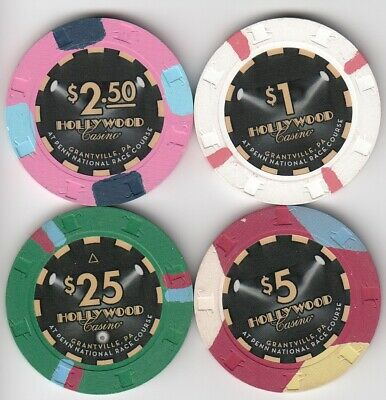 Hollywood - Grantville, PA 4 $1, $2.50, $5, + $25 1st Issue House Casino Chips