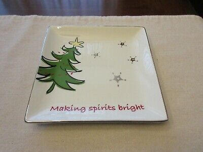 Square Serving Plate Making Spirits Bright JcPenney Home Collection Christmas