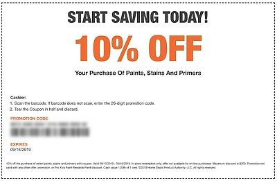 One(1x) Home Depot Coupon 10% off Paints, Stains &Primers In Store Only-exp 9/16