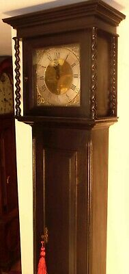Slim  Black Ebony  30  Hour  Brass Dial Grandfather / Longcase Clock