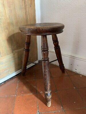 Antique Victorian Welsh farmhouse rustic tripod stool cast iron stretcher 19""