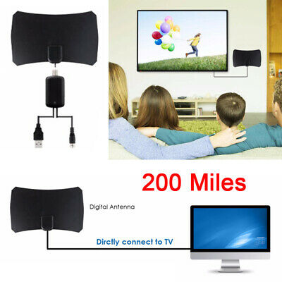Digital TV Antenna Aerial HD Freeview Signal Amplified Thin HDTV 200 Mile Indoor