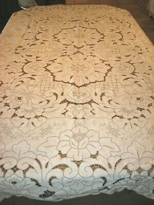 Vintage Ecru w/ Taupe Madeira Hand Embroidery Floral Linen Cutwork Tablecloth -