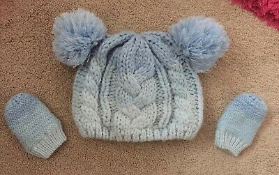 *Gorgeous Baby Boys Hat And Mittens Set - Blue - 0-6 Months - VGC*