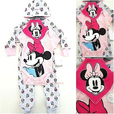 Baby Girl Disney Minnie Mouse Cloths 4 In1 Sleep Suit Babies 0-3 Years