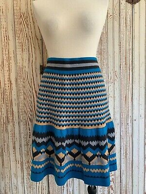 *Anthro Girls From Savoy Blue Mesa Merino Wool Pattern Skirt Sz L New Defects*