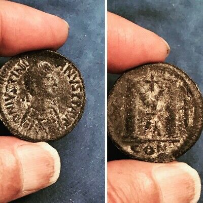 Ancient Justinian  I 527 AD Medieval Byzantine unclean coin cv$200