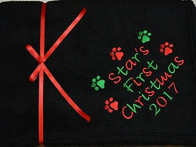 First Christmas Personalised Pet Fleece Blanket.