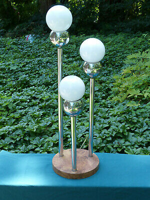Nice Vintage Mid Century Modern Torino ? Chrome Orb and 3 Globe Table Lamp