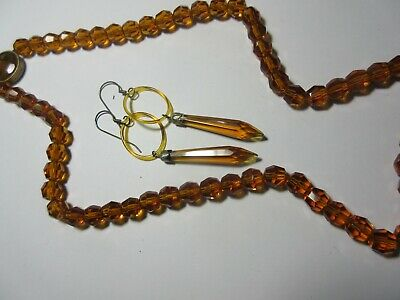 Vintage 16 inch Amber Glass Bead Rosary Style Chain Necklace India