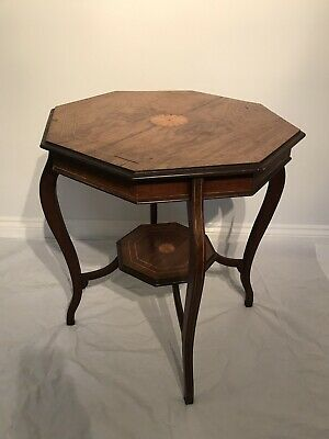 Edwardian Antique Octagonal Mahogany Inlaid Occasional-side Table-Vintage
