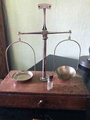 German Gold Scale Complete With Brass Gram Weights And Leaf Weights And Tweezer