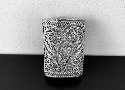 Antique hand engraved  Persian Islamic Arabic solid silver matches box 18 g