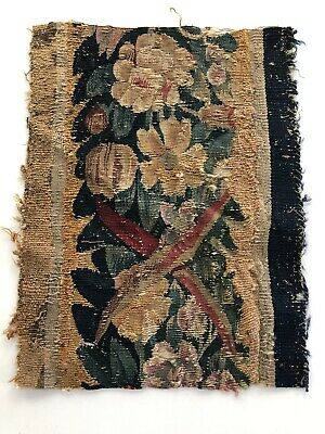 """Great 11"""" X 14""""17th/18th Century Verdure Tapestry Fragment"""