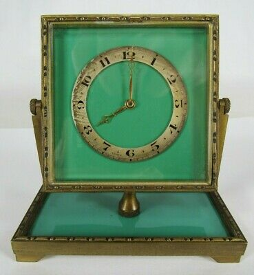 antique DEPOSE clock FRENCH 8-DAY small SWISS green enamel desk BRASS 391 69