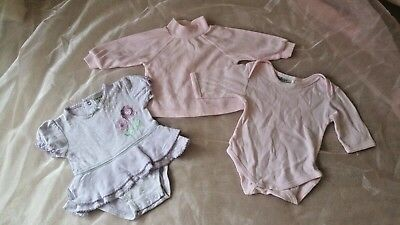 3 X Size 000 Girls Pink Long Sleeve Top, Long Sleeve Romper Suit & Purple Short