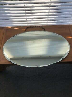 Frameless Vintage Bevelled Edge Art Deco Mirrors 1930s Original Chain 75 x 35cm