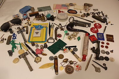 HUGE junk drawer lot vintage jewelry watches Toys Coins Buttons Pins Sewing