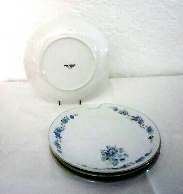 Vtg Fine China Snack Plate Luncheon Sandwich Buffet Blue Flowers Japan Platinum
