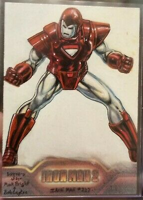 Iron Man 2 Sketch Card By Charles Hall 1/1 Painted