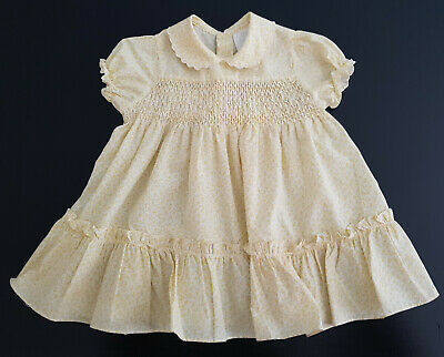 SMOCKED BABY / REBORN DOLL'S DRESS *VINTAGE 1970 - 80's* IN EXCELLENT COND Sz 1