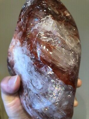 Red Hematoid Fire Quartz Flame Crystal 7 Inches 2030 Grams