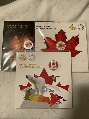 2017-2018-2019 Canada Glow-In-The-Dark 1/4 oz .9999 Silver $5 Coin Set