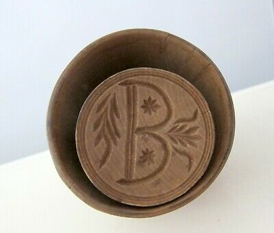 Antique Hand Carved Wood Butter Print Mold Stamp Letter B And Flowers