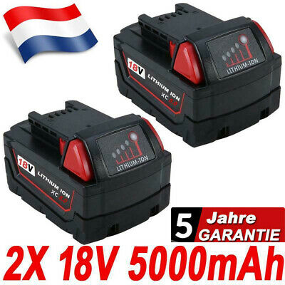 2x 18V 5.0Ah Red Lithium Ion XC 5.0 Batterie Pour Milwaukee M18 M18B4 48-11-1828