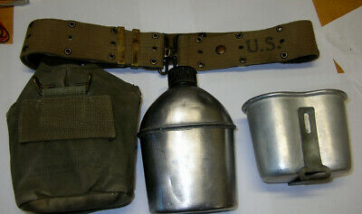 WW2  Canteen ,Cover ,cup Plus Web Pistol Belt!  Authentic