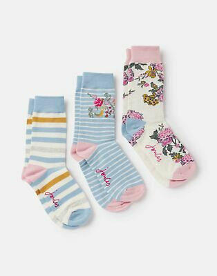 Joules 208245 Bamboo Socks 3 Pk in LIGHT BLUE CHINOISE FLOWER Size Adult 4in8
