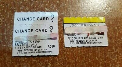 Mcdonald's Monopoly Maccas 2019 LEICESTER SQUARE+ 2x CHANCE-Unredeemed A660+A500