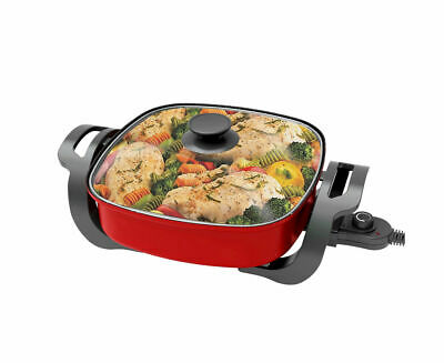 New 1500W Electric Frying Pan Skillet Multi Function Cooker Red Xj-12201