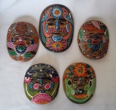 Vintage MEXICAN FOLK ART Hand Painted Terracotta Pottery Small Masks - Set of 5
