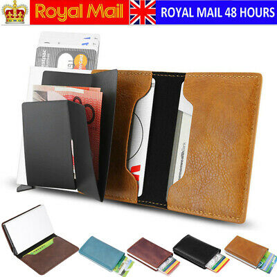 Mens Antitheft Wallet RFID Blocking Pop-up Leather Card Holder Metal Purse Gift